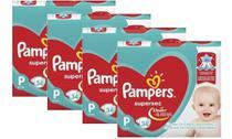 Kit Com 4 Pacotes Fraldas Pampers Supersec Atacado Barato -