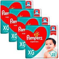 Kit Com 4 Pacotes Fraldas Pampers Supersec XG Atacado Barato -