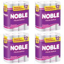 Kit com 4 Papel Higiênico Folha Dupla Noble 12 Rolos -