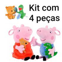Kit com 4 pelúcias peppa george teddy e senhor dinossauro - Peppa Pig
