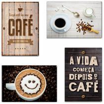 Kit com 4 Placas em MDF - Café - R+ Adesivos -
