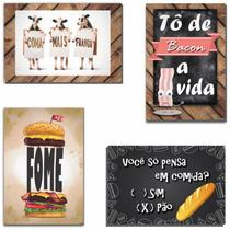 Kit com 4 Placas em MDF - Cozinha Divertida - R+ Adesivos -