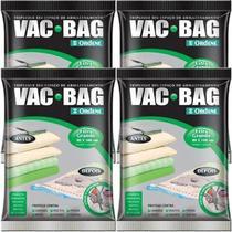 Kit com 4 Sacos À Vácuo VAC BAG Ordene EXTRA Grande 80X100 Edredom -