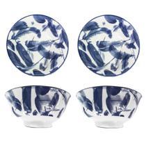 Kit com 4 Tigelas Bowl Cumbuca Porcelana 600 ml Luxo Importada Milano CH1351-6 / 04 - Santa cecilia