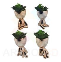 Kit com 4 Vasos Cachepots Bonecos Robert Plant para Suculentas e Flores - Artbox3D