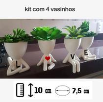 Kit Com 4 Vasos Decorativos Love Amor Bob Planta Suculentas - Marxgreg 3D