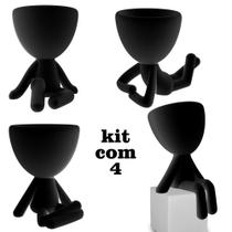 Kit Com 4 Vasos Decorativos Preto Robert Plant Bbb Suculentas - Marxgreg 3D