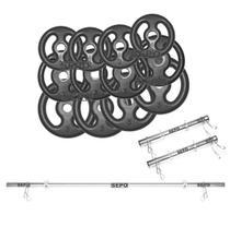 Kit com 40 Kg de Anilhas Ferro Fundido + 1 Barra 1,60m + 2 Barras 40cm - Sepo - Pesos