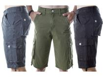 Kit Com 5 Bermuda Masculino Cargo Lisas Coloridas  Originais - Icari fashion