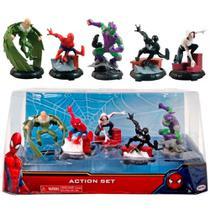 Kit Com 5 Bonecos Homem Aranha Com Figuras Vinil Domo Original Disney - Dtc