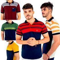 Kit com 5 Camisas Gola Polo Blitz Masculinas Listradas -
