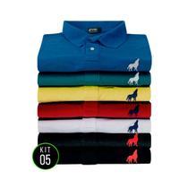 Kit com 5 Camisas polo Vira lata Wear malha piquet Originais -