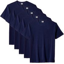 Kit com 5 Camiseta Masculina Básica Algodão Premium Azul - Part.B