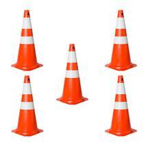 Kit com 5 Cones de Sinalização Trânsito em PVC 75 cm Laranja e Branco - Plastcor