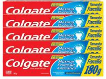Kit com 5 Cremes Dental Colgate Máxima Proteção Anticáries Tamanho Família 180g -