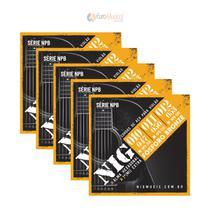 Kit com 5 Encordoamentos Violão Aço NIG .010/.047 NPB-560 -