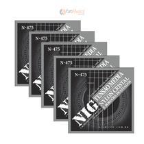 Kit com 5 Encordoamentos Violão Nylon Nig tensão Média N475 com Bolinha  N-475 -