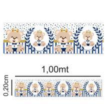 Kit com 5 faixas adesivas 1,00x0,20cm - Ursinho Príncipe azul escuro para quarto do bebê - border - Gráfica Sublime