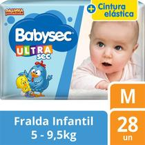 kit com 5 Fralda Descartável Infantil Babysec Ultra Sec M -