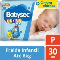 kit com 5 Fralda Descartável Infantil Babysec Ultra Sec P -