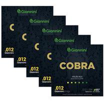 Kit Com 5 Jogos De Cordas Giannini Cobra Violão Aço 012 -