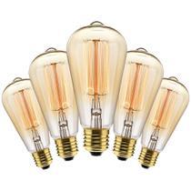 Kit com 5 Lâmpadas Filamento Carbono ST64 40w 220V 2000K 48LCARST6402 Elgin -