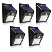 Kit Com 5 Luminárias Solar 20 Leds Com Sensor De Presença Automático - Selecta Ilumi