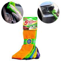 Kit com 5 Panos de Microfibra Luxcar para Limpeza Automotiva e Doméstica Cores Variadas -