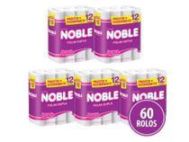 Kit com 5 Papel Higiênico Folha Dupla Noble Barato Atacado 12 Rolos -