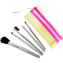 Kit com 5 Pincéis de Maquiagem Color Beauty Care Ana Hickmann Amarelo - Relaxbeauty RB-CP4149 -