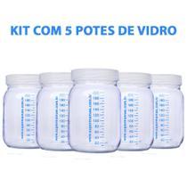 Kit com 5 Potes de Vidro para Armazenar Leite Materno 200ml Com Graduação - Super Mamãe