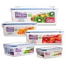 Kit com 5 potes herméticos de alta qualidade Click Fresh -