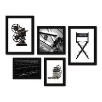 Kit Com 5 Quadros Decorativos - Cinema Projetor Filmes - 043kq01p - Allodi