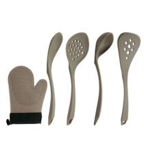 Kit com 5 utensílios em silicone cinza design - le cook -