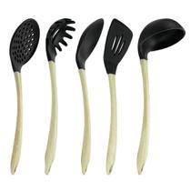 Kit com 5 utensilios silicone e madeira siliwood - le cook -