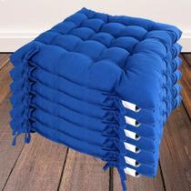 Kit com 6 almofada futon assento para cadeira - azul - Casa Ambiente