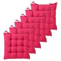 Kit com 6 almofadas futon assento para cadeira - pink - nacional - Artesanal Teares