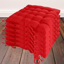 Kit com 6 almofadas futon assento para cadeira - vermelha - Casa Ambiente