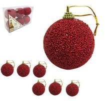 Kit com 6 Bolas de Natal Luxo Vermelho com Glitter 6 cm Ø - Natalkasa