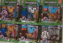 Kit Com 6 Boneco Minecraft Estilo Lego E Acessórios - Brinquedo