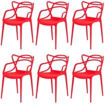 Kit com 6 Cadeiras Allegra de Polipropileno Vermelha - 173 DPP - Casa Futura
