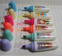 Kit com 6 Canetas Mini Marca Texto Tampa com Clips - Novidade Divertida - Kopeck