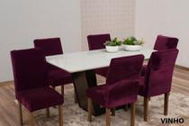 Kit com 6 Capas Para Cadeira em Veludo Para Sala de Jantar - Casa Império