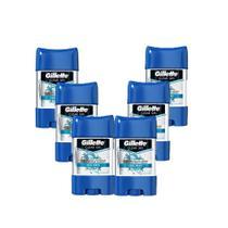 Kit com 6 Desodorantes Gillette Clear Gel Cool Wave 82g -