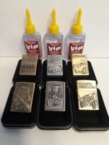 Kit com 6 Isqueiro De Metal Recarregavel Tipo Zippo com 3 Fluido (VIP) -