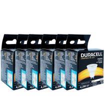 Kit com 6 Lâmpadas Led Duracell Dicróica 4,3W 6500K  Branca -
