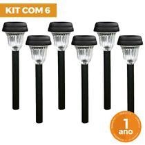 Kit com 6 Luminária Balizadora Poste Solar ABS Espeto de Jardim - LED Branco Frio - Ecoforce -