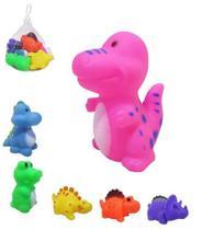 Kit com 6 Mini Dinossauros Brinquedo de Vinil com Som - Mohnish -