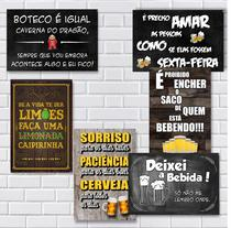 Kit Com 6 Placas Em Mdf - Frases De Boteco - R+ Adesivos -