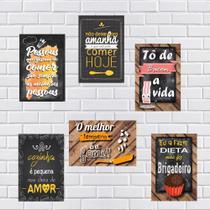 Kit Com 6 Placas Em Mdf - Frases Para Cozinha - R+ Adesivos -